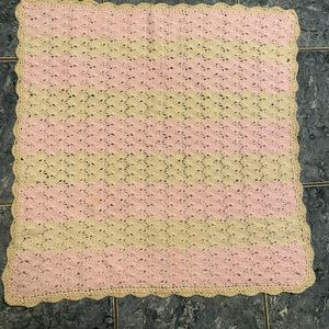 Hand knit granny square baby blanket